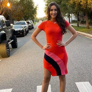 NWOT Red mini dress, made in Brasil